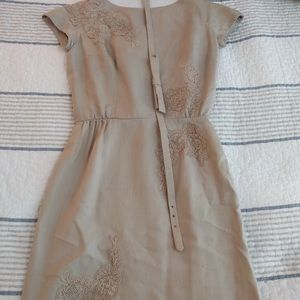 True Vintage 50's linen pencil dress with belt XS